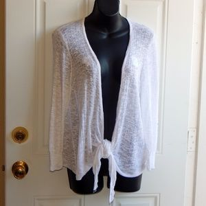 FADED GLORY Loose Knit Shrug LS Front Tie NWOT